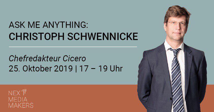 Ein Porträtbild von Christoph Schwennicke mit den Daten der Veranstaltung